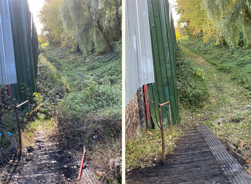 Vegetation clearance at the October work party - before and after