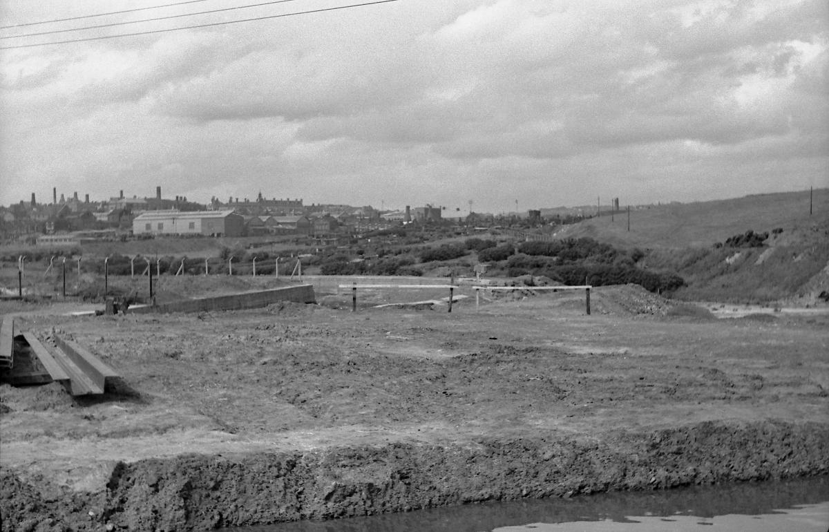 Breach site viewed from the Trent & Mersey Canal, June 1962