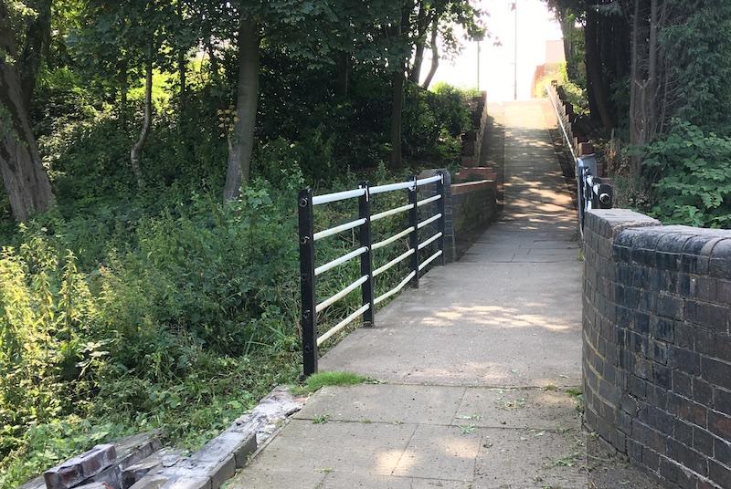 Repainted footbridge, July 2017