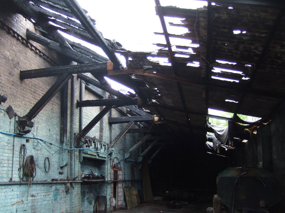 Fire damage in the warehouse